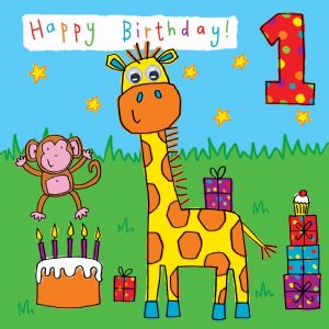 Childrens Birthday Card age 1 Giraffe